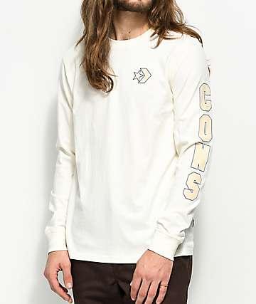 Converse Cons Wordmark Egret camiseta blanca de manga larga