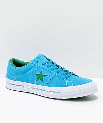 Converse One Star Pinstripe Hawaiian Ocean, Jolly Green & White Skate Shoes