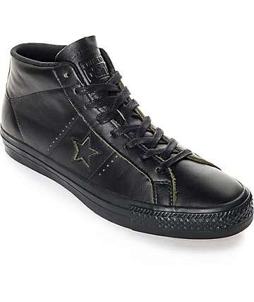 Converse One Star Pro Mid zapatos de skate de cuero negro