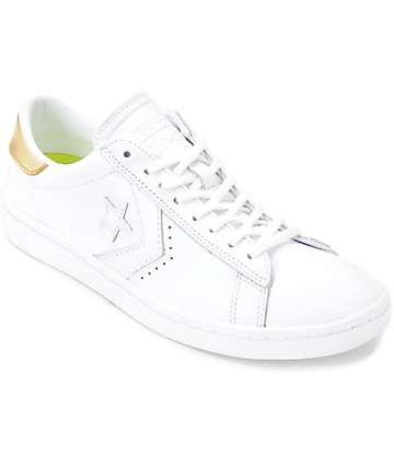 Converse PL LP Ox zapatos de cuero en blanco y color oro para mujeres