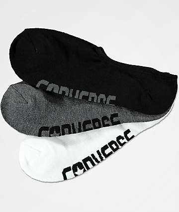 Converse Ultra Low White, Dark Grey & Black 3 Pack No Show Socks
