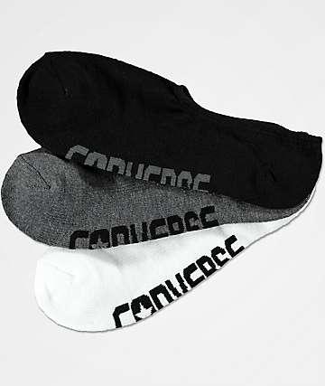 Converse Ultra Low White, Dark Grey & Black 3 Pack No Show Socks