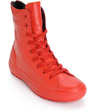 Converse Womens Chuck Taylor All Star Red Hi-Rise Rubber Boots