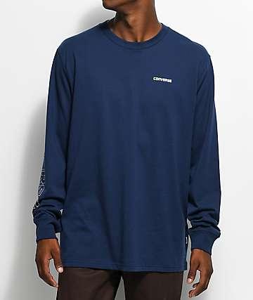 Converse Wordmark Navy Long Sleeve T-Shirt