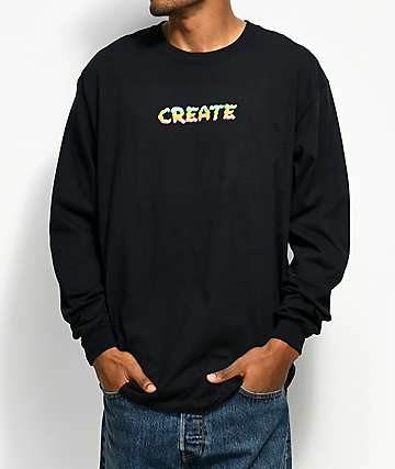 Create Birth Black Long Sleeve T-Shirt
