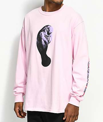 Create Manatee Pink Long Sleeve T-Shirt