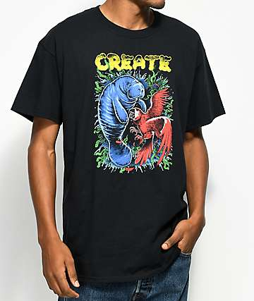 Create Manatee VS Macaw Black T-Shirt