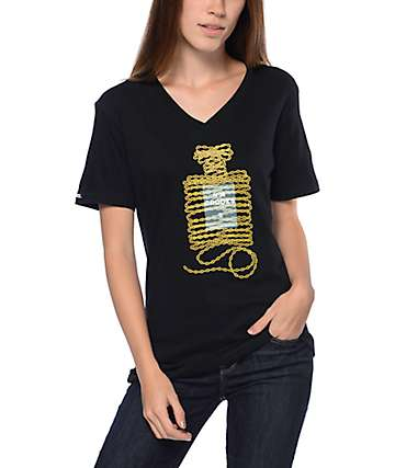 Crooks & Castles Cadeia Black V-Neck T-Shirt