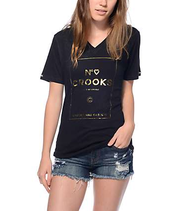 Crooks & Castles City Of Angels Black V-Neck T-Shirt