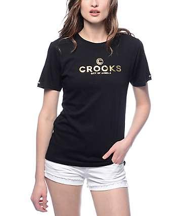 Crooks & Castles Gold Logo Black T-Shirt