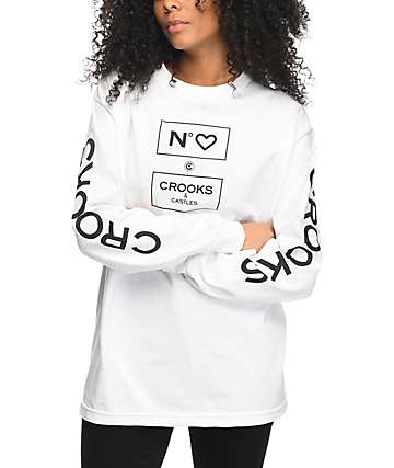 Crooks & Castles No Love camiseta blanca de manga larga