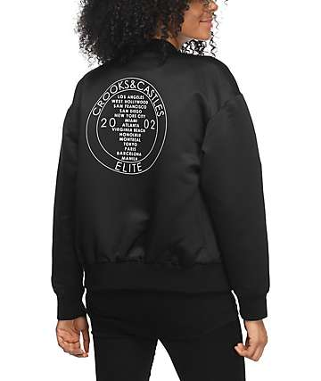 Crooks & Castles Palace Black Bomber Jacket