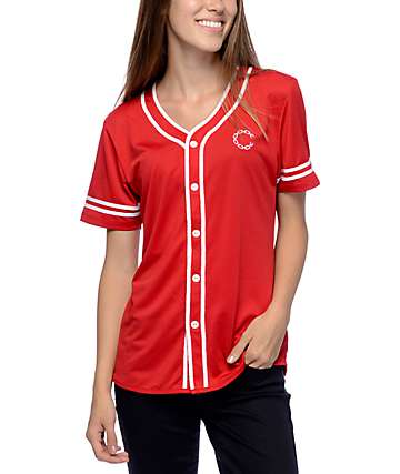 Crooks & Castles Red & White Baseball Jersey