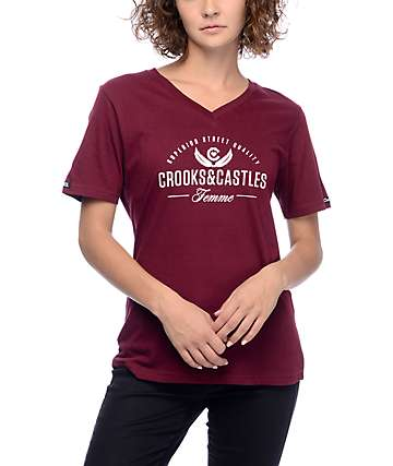 Crooks & Castles Superior Burgundy V-Neck T-Shirt