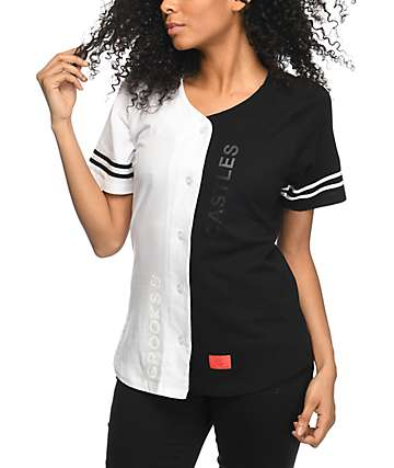 Crooks & Castles Throne Black & White Baseball Jersey