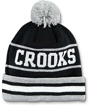 Crooks & Castles Stripe Pom Beanie