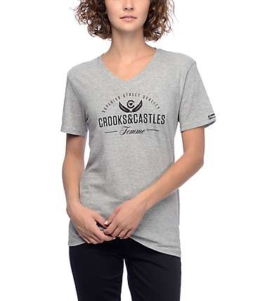 Crooks & Castles Superior Heather Grey V-Neck T-Shirt