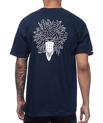 Crooks & Castles Supreme Serpent Navy T-Shirt
