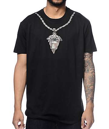 Crooks and Castles Medusa Chain Scallop Black T-Shirt