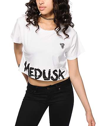 Crooks and Castles Medusa Tag White Crop T-Shirt