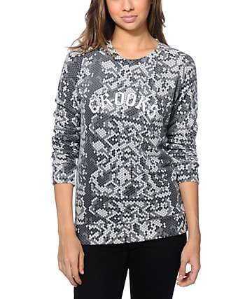 Crooks and Castles Snake Print Crew Neck Sweatshirt