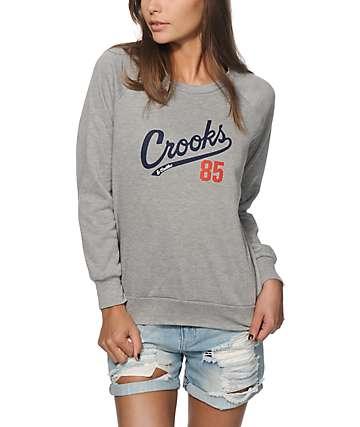 Crooks and Castles Starter Heather Grey Crew Neck Sweatshirt