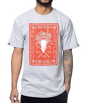 Crooks and Castles Stay Paid Grey T-Shirt