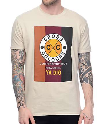 Cross Colours CXC Flag Logo Tan T-Shirt