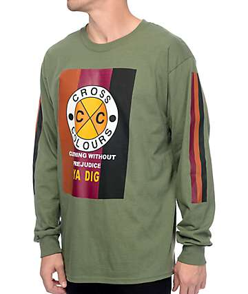 Cross Colours CXC Flag Military Green Long Sleeve T-Shirt