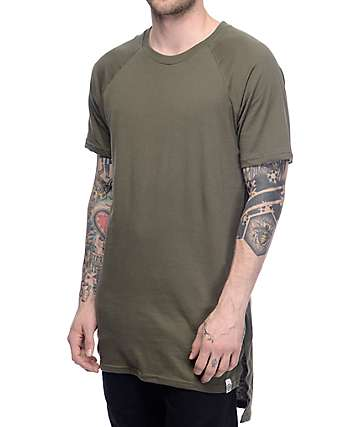 Cross Colours CXC Hi Lo Military Green Elongated T-Shirt