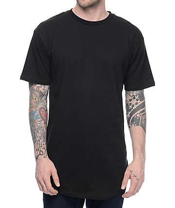 Cross Colours CXC Hi Lo Scalloped Hem Black T-Shirt
