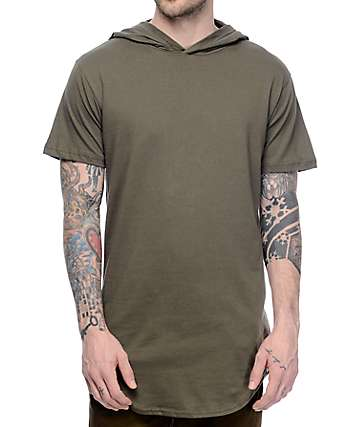 Cross Colours CXC Hooded Scallop Hem Military Green T-Shirt
