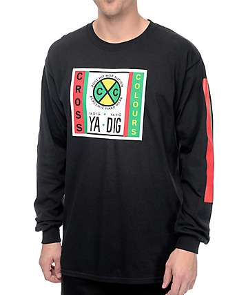 Cross Colours CXC Label Logo Black Long Sleeve T-Shirt