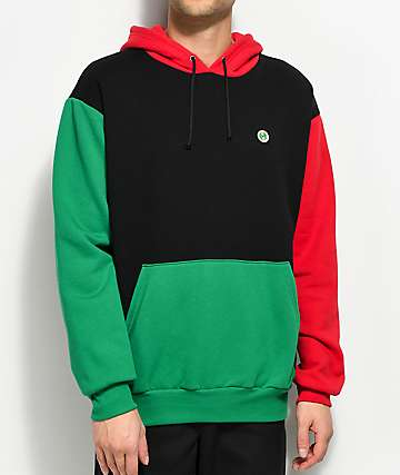 Cross Colours Color Block Black, Red & Green Hoodie