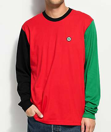 Cross Colours Color Block Red, Green & Black Long Sleeve T-Shirt