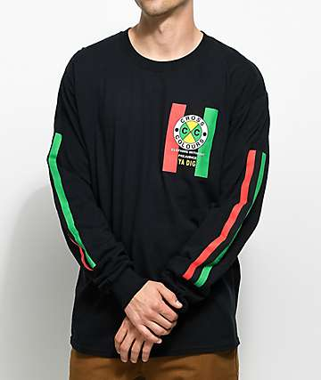 Cross Colours Flag Logo Black Long Sleeve T-Shirt