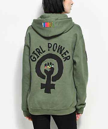 Cross Colours Girl Power Flag Olive Hoodie