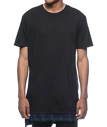 Cross Colours Globe Hi-Lo Plaid Bottom Black T-Shirt