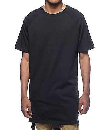 Cross Colours Hi-Lo Black Raglan T-Shirt