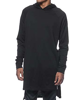 Cross Colours Hi-Lo Hooded Black Long Sleeve Raglan T-Shirt