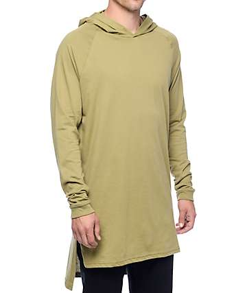 Cross Colours Hi-Lo Hooded Olive Long Sleeve Raglan T-Shirt