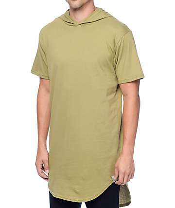 Cross Colours Hi-Lo Hooded Scalloped Olive T-Shirt
