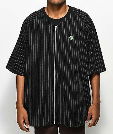 Cross Colours Pinstripe camiseta negra con cremallera