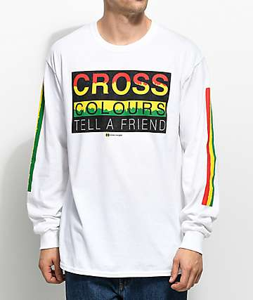 Cross Colours Tell A Friend White Long Sleeve T-Shirt