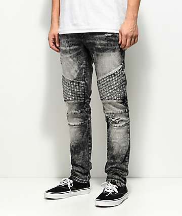 Crysp Denim Basket Woven Black Acid Wash Jeans