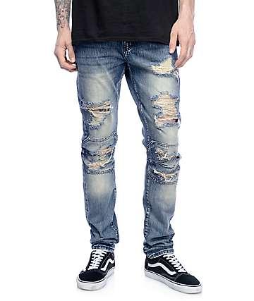 Crysp Denim David Ripped Panel Stone jeans