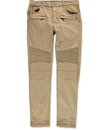 Crysp Denim Jordan Moto pantalones asargados en color caqui