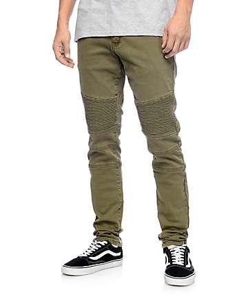 Crysp Denim Jordan Moto pantalones asargados en olivo
