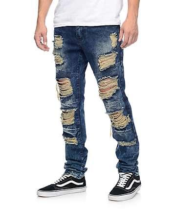 Crysp Denim Wayne jeans azules angustiados