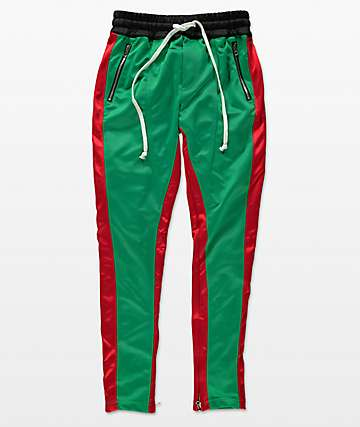 Crysp FB Green & Red Track Pants